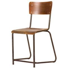 Set of 8 Wood and Metal Dining Chairs from 1930s England