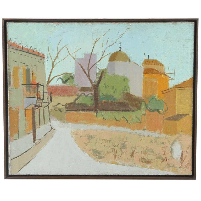 Landscape Painting of a European City Scene