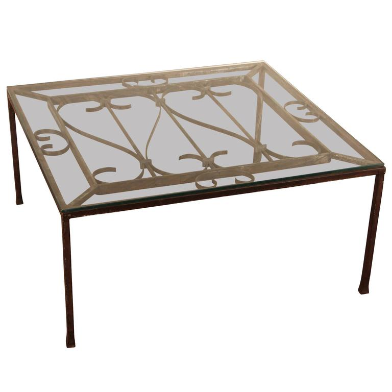 Antique Iron Architectural Element Mounted as Cocktail Table