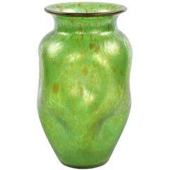 Art Nouveau Green Iridescent Handblown Art Glass Vase