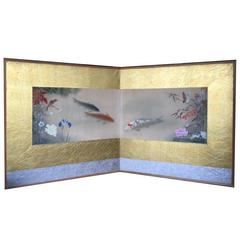 Japanese Lovely Screen of Koi Flowers Birds