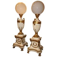 Pair of French Louis XVI Style White Marble and Bronze Floor Lamp Torchieres