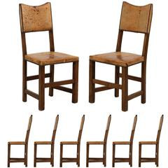 Set of Eight English Oak and Leather Vintage Dining Chairs, Early 20th Century