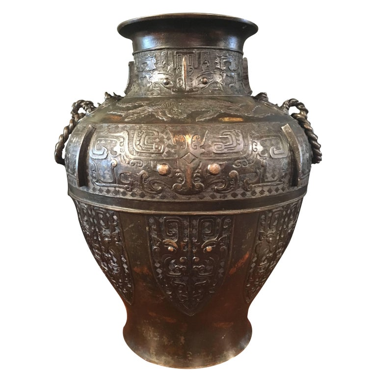 Large Qing Dynasty Chinese Archaistic Gold Splashed Bronze Hu Vase For Sale