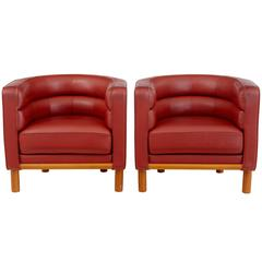 Pair of 1970s Large Leather Club Armchairs
