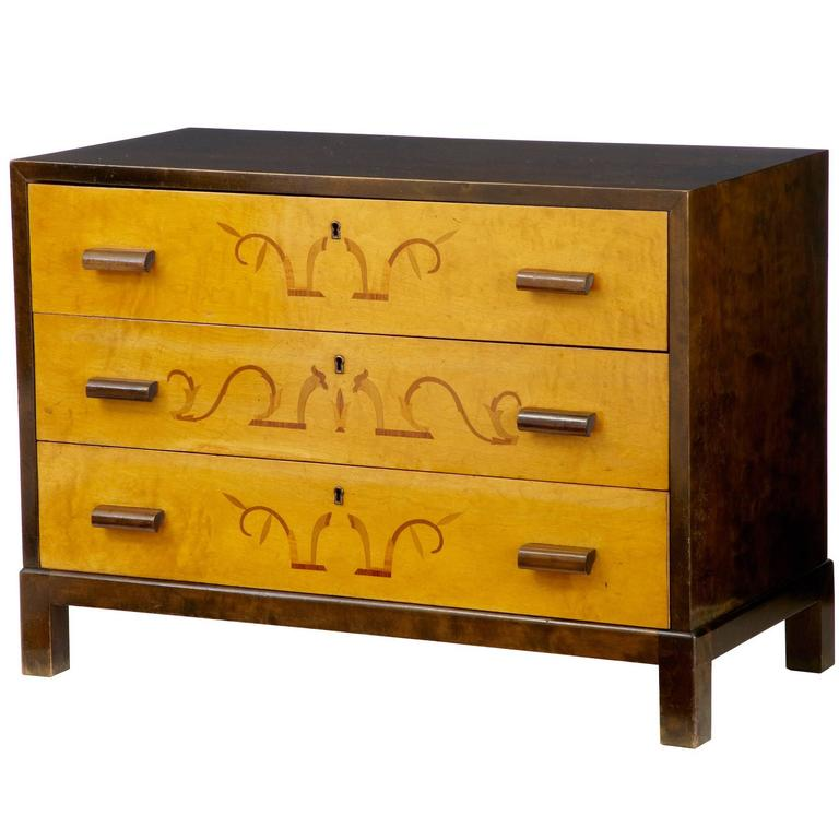 Art Deco 1930s Inlaid Birch Chest of Drawers