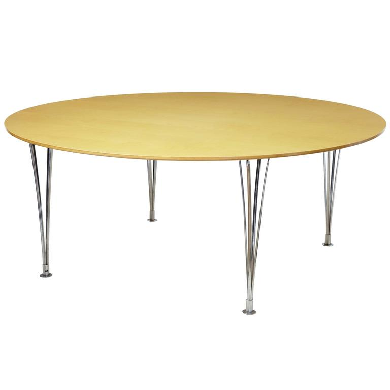 Large round bruno mathsson birch dining table for sale at for Large round dining table for sale