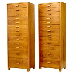 Pair of 1950s Swedish Pine Tall Chest of Drawers