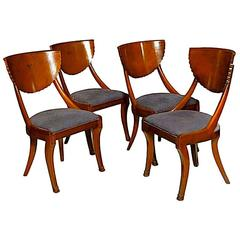 Chic Klismos Set of Mellowed Burl Wood Scallop Back Chairs with Black Inlay Trim