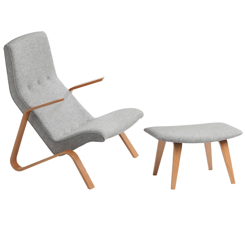 Grasshopper Lounge Chair and Ottoman Eero Saarinen Design 1946