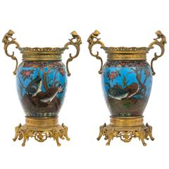 Pair of Ormolu-Mounted Cloisonné Enamel Vases