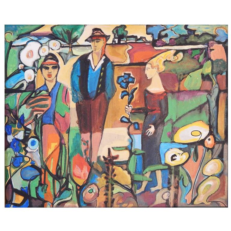 """Secessionist Scene in the Tyrol,"" Brilliant Fauvist Painting, Austria For Sale"