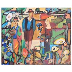 """Secessionist Scene in the Tyrol,"" Brilliant Fauvist Painting, Austria"