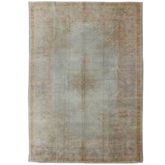 Antique Turkish Burlu Oushak Rug with Fine Weave in Muted Colors