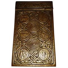 Tiffany Studios Gilt Bronze Memo Pad Holder, in the Zodiac Pattern
