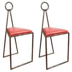 Pair of Unusual Iron Stools