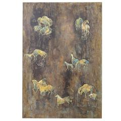 Philip and Kelvin LaVerne Horse Motif Wall Panel