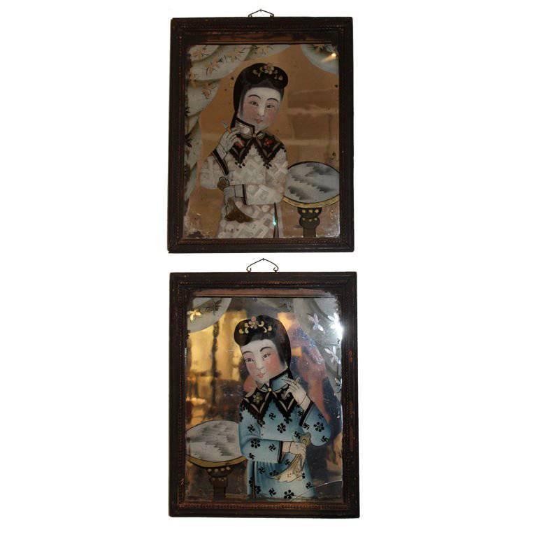 Pair of Paintings 18th Century China 1