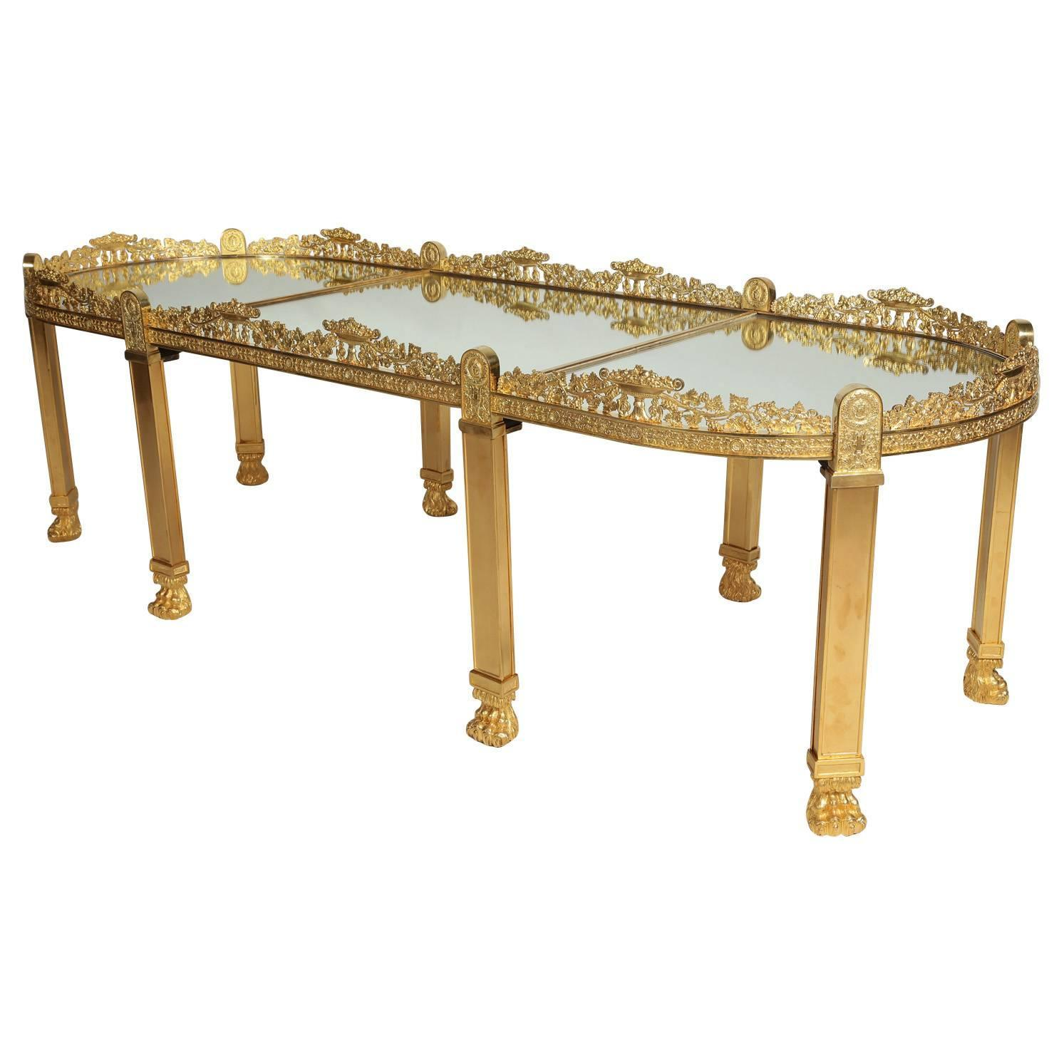 Large French Coffee Table: Large French Empire Style Napoleon III Gilt-Bronze Surtout