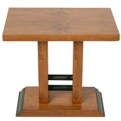 Art Deco Period French Walnut and Ebonzed Side Table or Night Stand