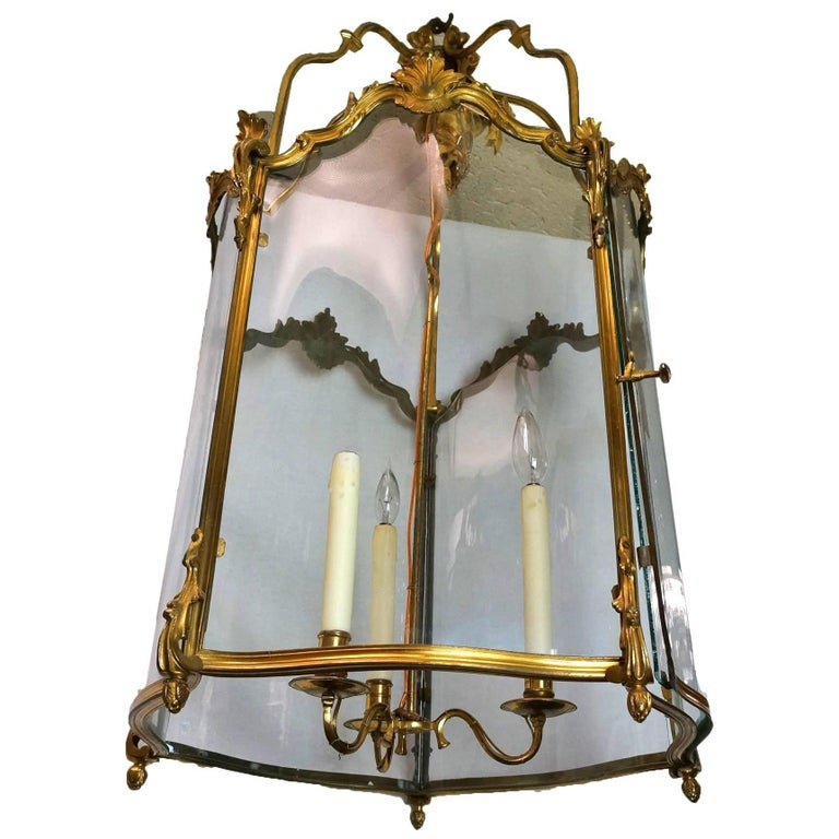 French Louis XVI Style Bronze and Glass Lantern