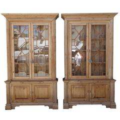 Pair of 19th Century English Pine Chippendale Bookcases