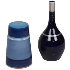 Two Cobalt and Blue Porcelain Pieces by KPM, German, 1950s