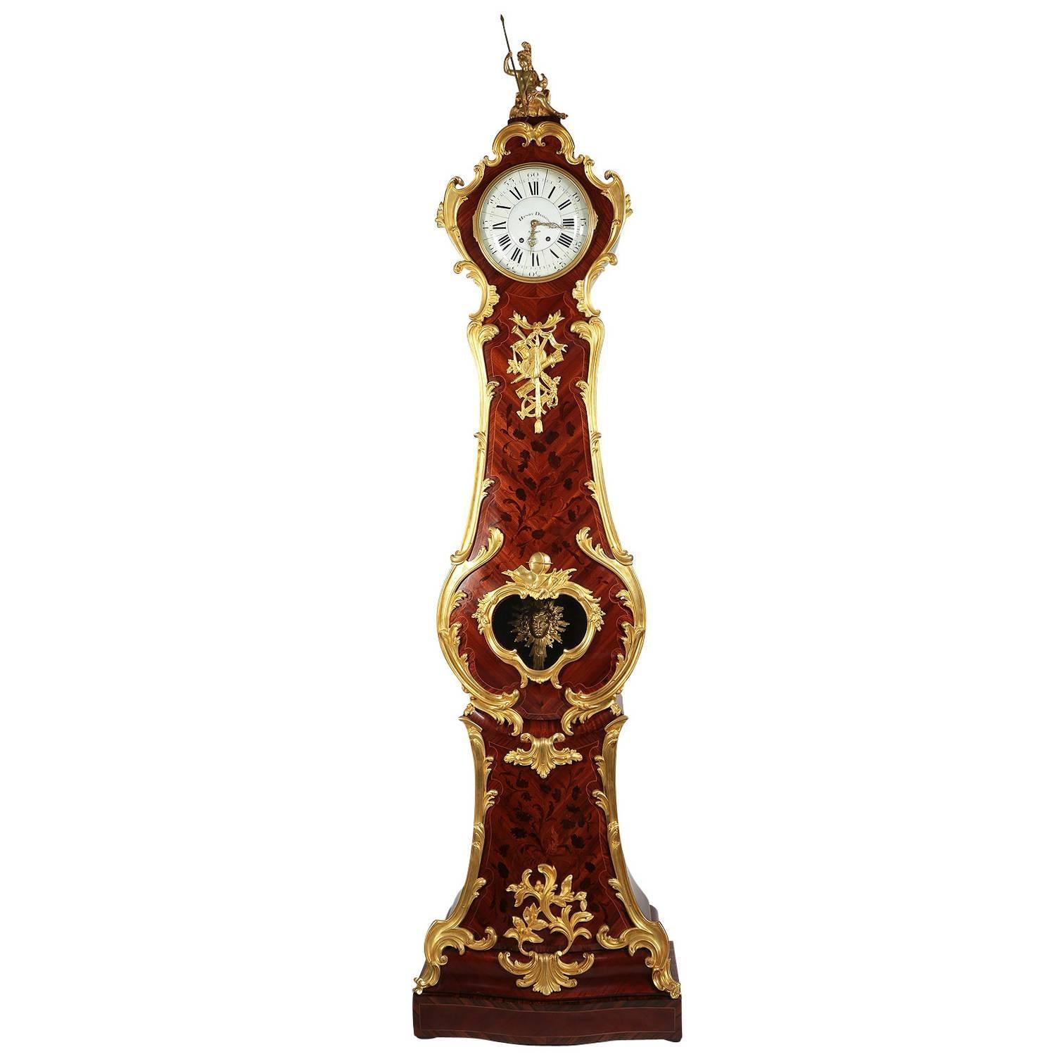 French 19th Century Regence Style Ormolu & Kingwood Grandfather Tall Case Clock