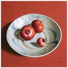 """Pomegranates on Ming Plate,"" Painting by Stefaan Eyckmans"