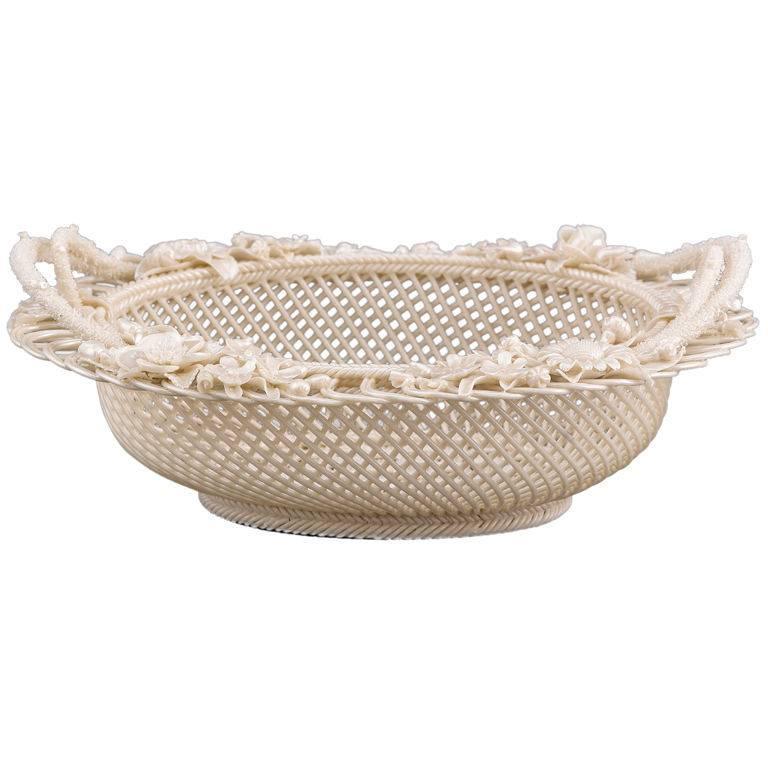 Belleek Four Strand Oval Basket