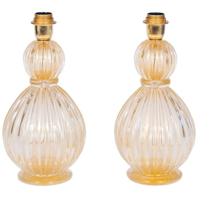 Pair of Italian Murano Gold Table Lamps, circa 1980s