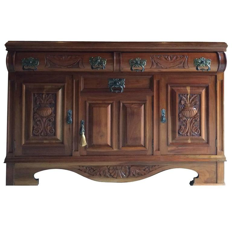 antique sideboard credenza mahogany buffet dresser edwardian art nouveau at 1stdibs. Black Bedroom Furniture Sets. Home Design Ideas