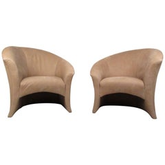 Thayer Coggin Sculpted Back Lounge Chairs