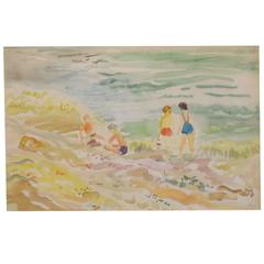1960s Water Color of Beach Scene by Marzi