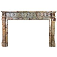 19th Century Original Louis XVI Style Marble Fireplace Mantel