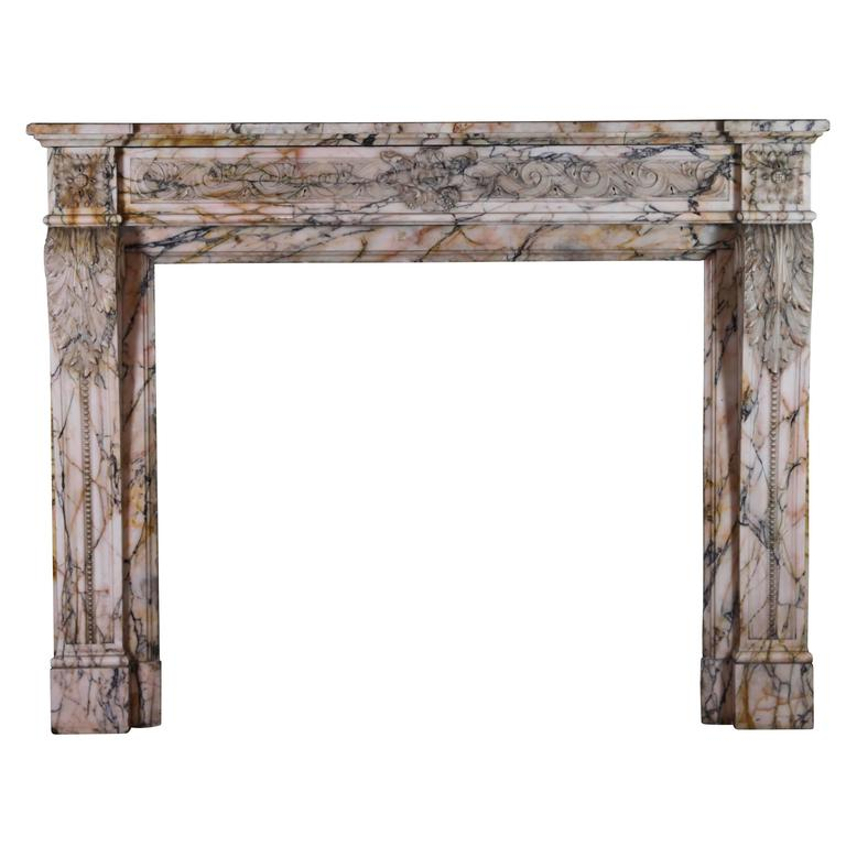 19th Century Louis XVI Style Marble Original Antique Fireplace Mantel For Sale