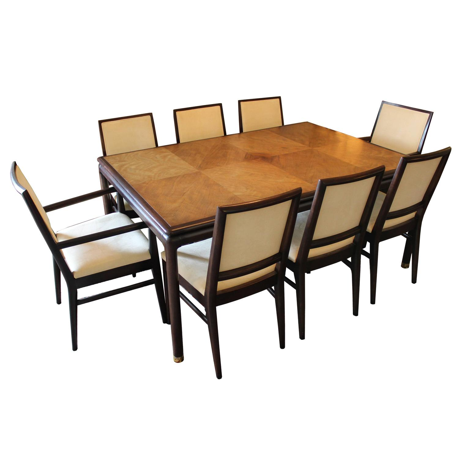 Mount airy dining room set of two leaves and eight chairs for Dining room sets with leaf