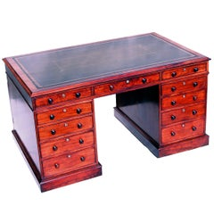 Antique Regency Mahogany Pedestal Partners Desk