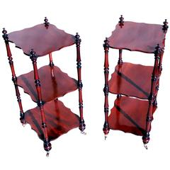 Antique 19th Century Mahogany Pair of Whatnots or Ètagerè