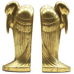 1930s Art Deco Brass Pelican Bookends