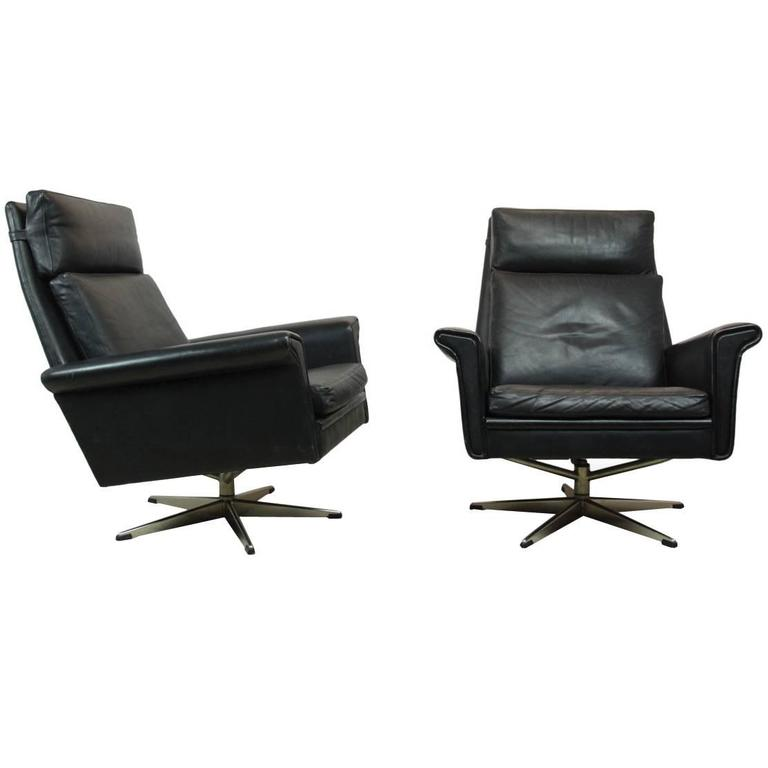 this pair of black leather swivel chairs danish circa 1960 is no