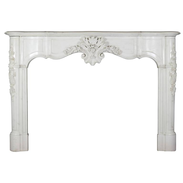 19th Century White Statuary Marble Antique Fireplace Mantel