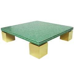 1970s Italian Postmodernist Tiled and Brass Coffee Table