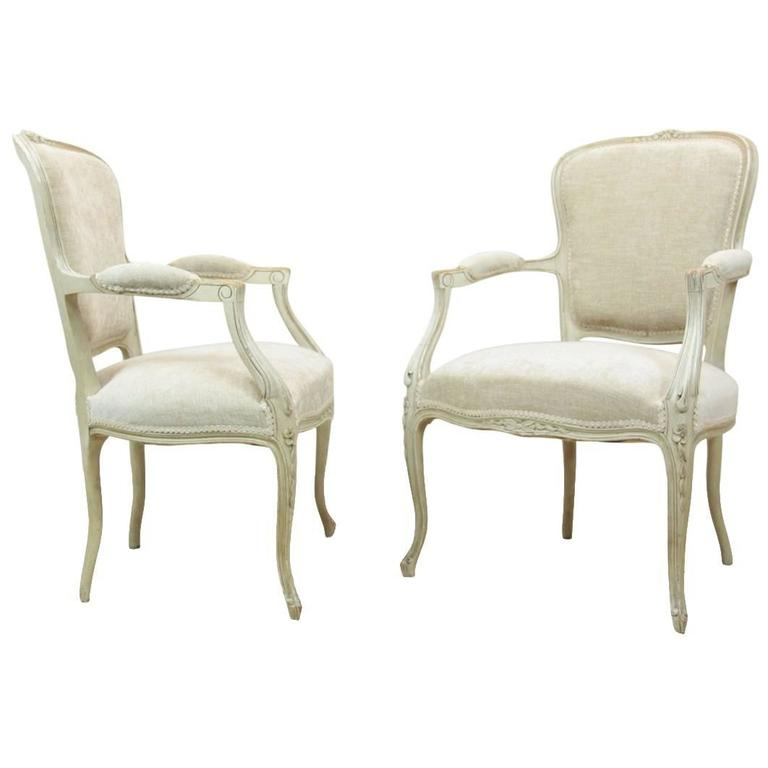 Pair of Louis XV Style Painted Chairs, circa 1880
