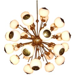 Mid-Century Modern Style, Sputnik Chandelier with Murano Glass Orbs