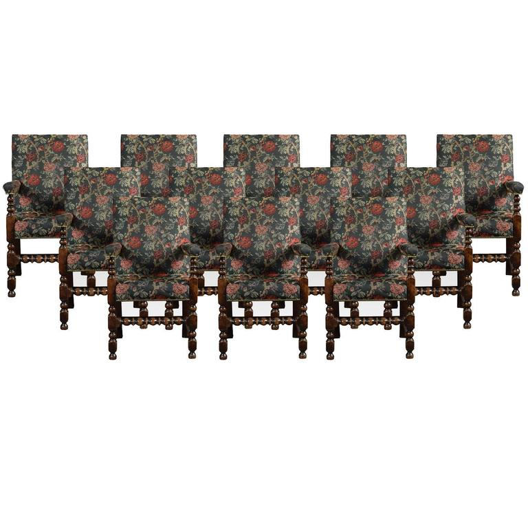 Set of Twelve Jacobean Oak Dining Chairs