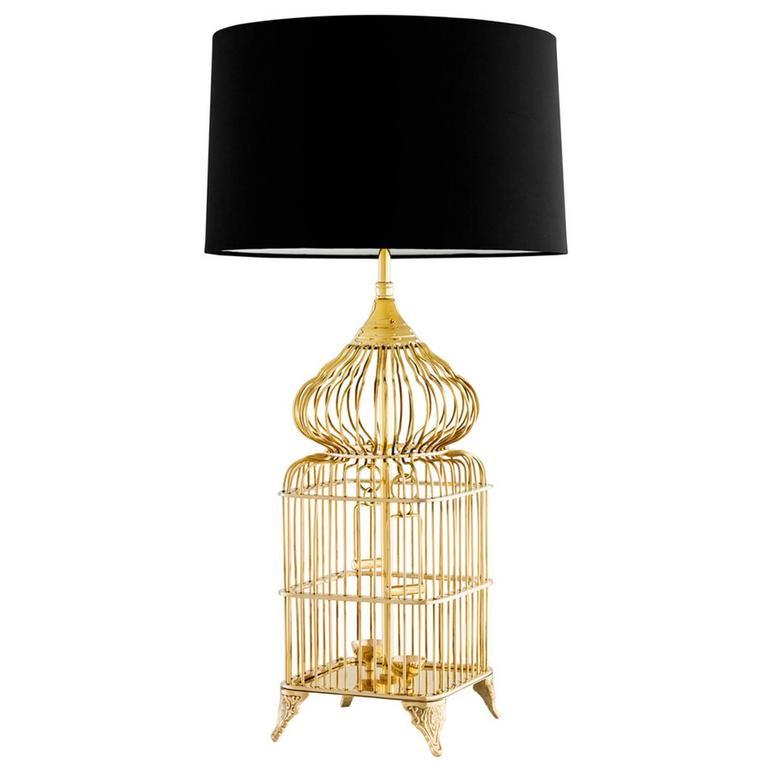 Table Lamp Bird Cage In Polished Brass Or In Nickel Finish For Sale