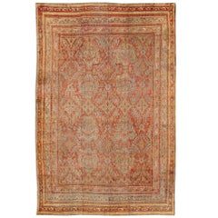 Antique Turkish Oushak Rug with Geometric Design in Soft Red, Light Blue, Yellow