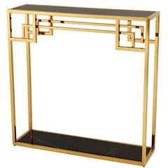 Console Gold Finish with Black Glass Top and Marble Base