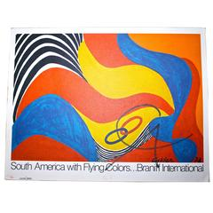 Calder signed lithographic poster, 'South America with Flying Colors'
